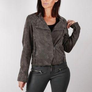 RENE LEZARD Dark Gray Snake Print Leather Jacket